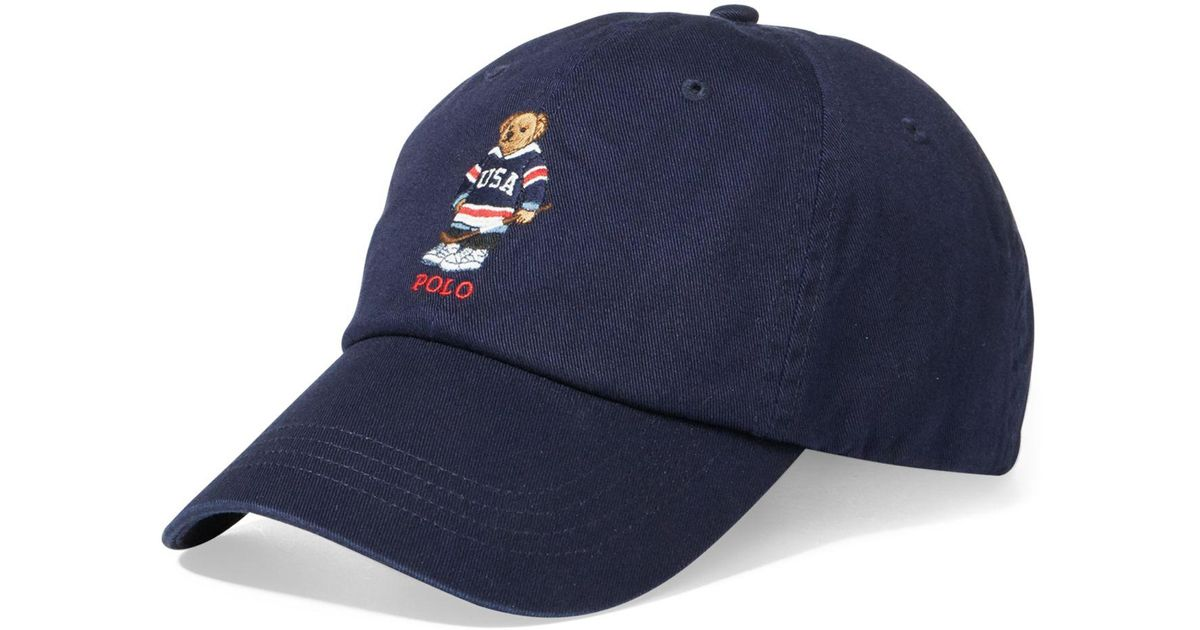 2ad3b960bcdab Lyst Polo Ralph Lauren Men S Polo Bear Cotton Cap In Blue For Men