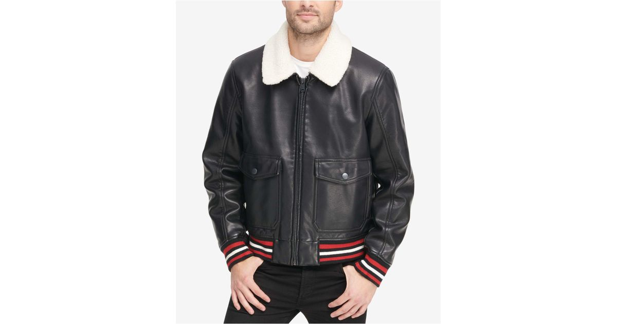 Sherpa Collar Jacket Lyst Bomber In With Hilfiger Tommy For Men Black wnqnXSBY