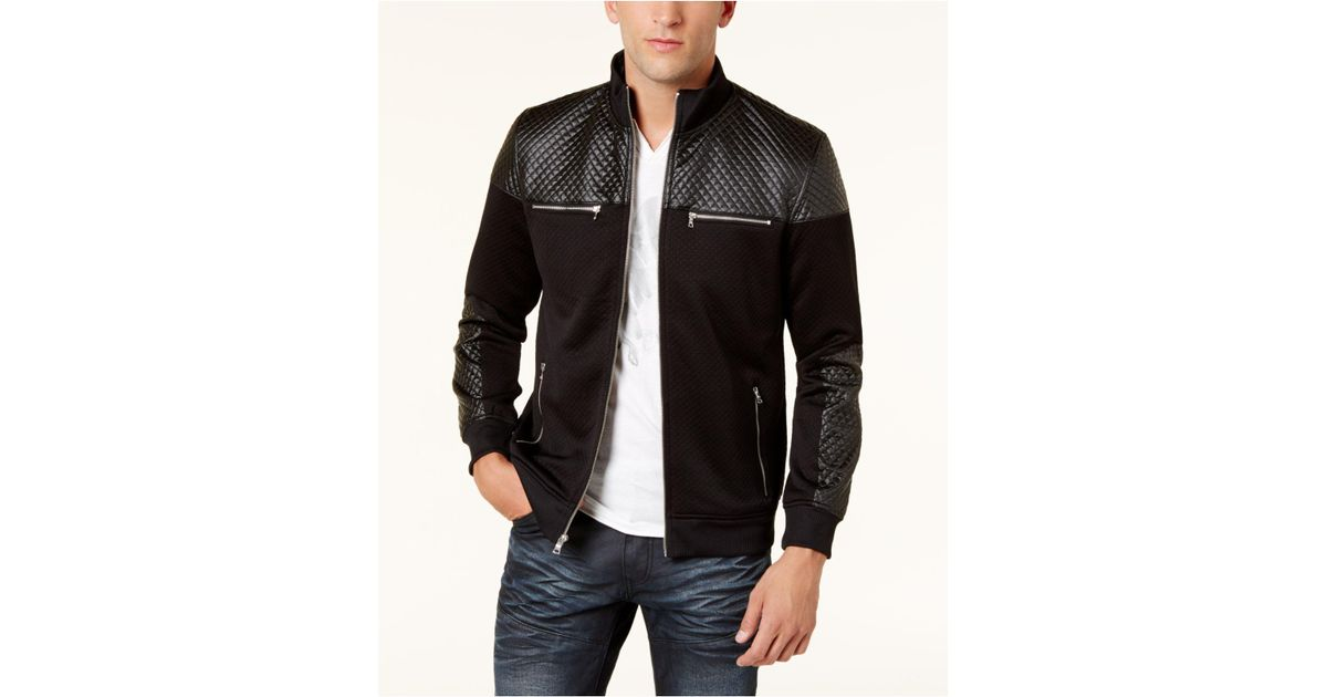 a2c2b491 INC International Concepts Men's Mixed-media Bomber Jacket in Black for Men  - Lyst