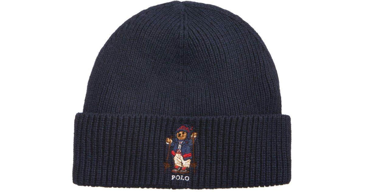 Lyst - Polo Ralph Lauren Men s Apres Ski Bear Cuff Hat in Blue for Men a510b16cda1