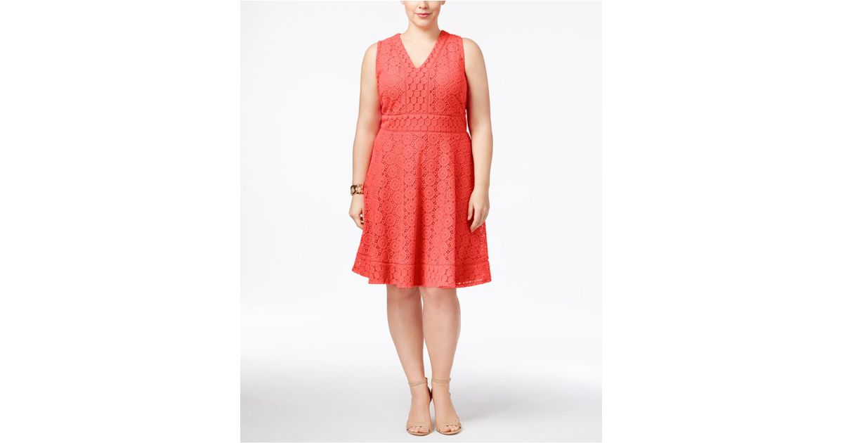 Lyst Charter Club Plus Size Lace Fit Flare Dress In Red