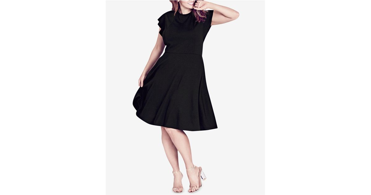 Lyst City Chic Trendy Plus Size Ruffled Shoulder A Line Dress In Black