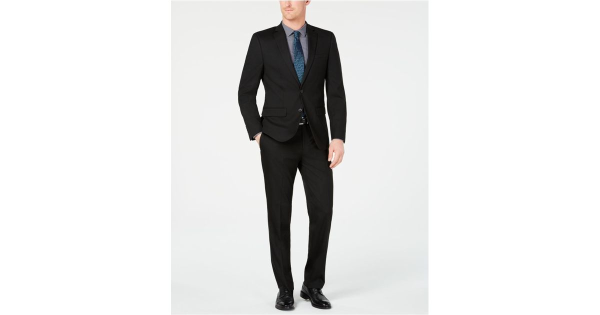 e186b3e02548 Lyst - Van Heusen Slim-fit Flex Stretch Wrinkle-resistant Black Solid Suit  in Black for Men
