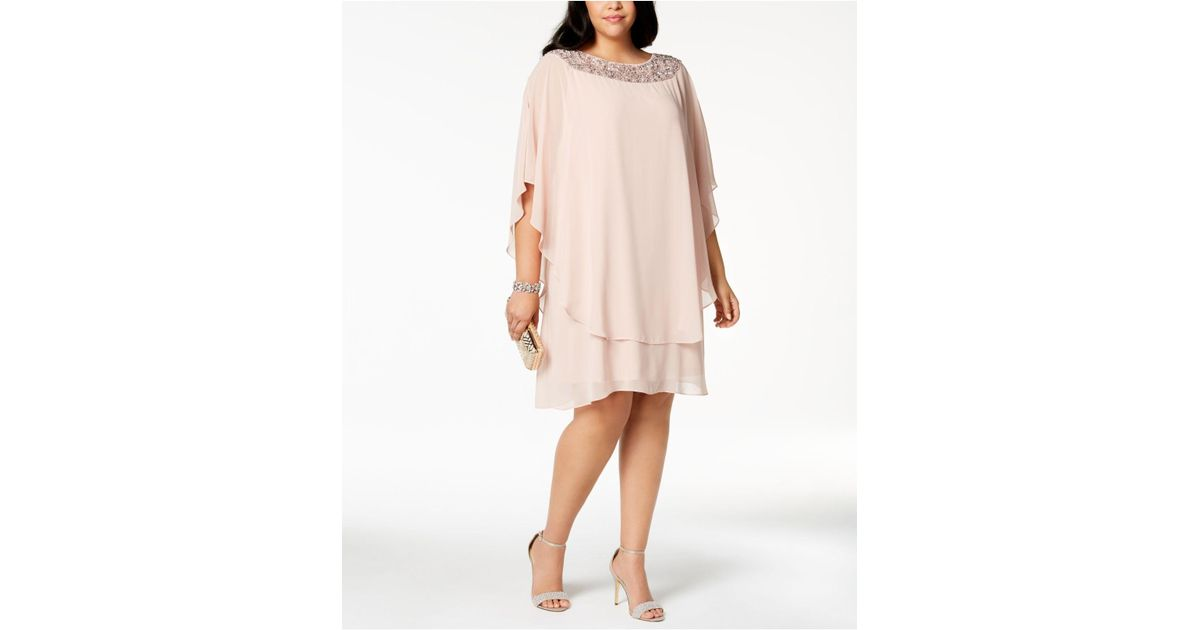 e42b371fb0a Lyst - Xscape Plus Size Beaded Chiffon Popover Dress in Pink