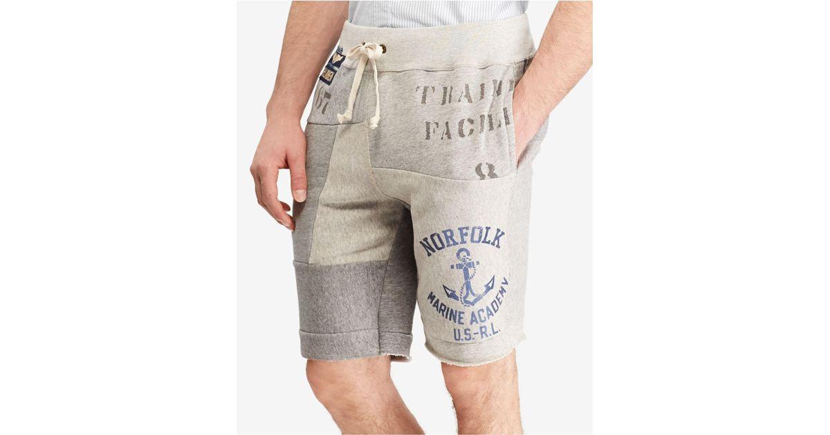 8dec0435 ... get lyst polo ralph lauren patchwork 9 1 2 sweat shorts in gray for men  cb9c8