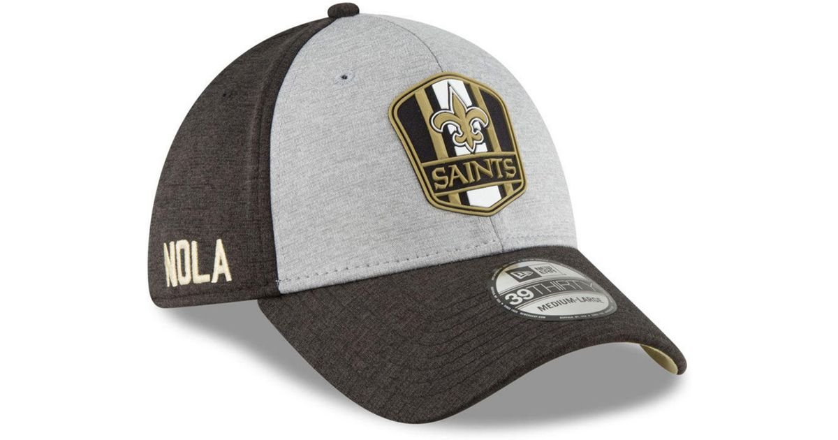 ef178e3e6b1 Lyst - KTZ New Orleans Saints On Field Sideline Road 39thirty Stretch  Fitted Cap in Black for Men