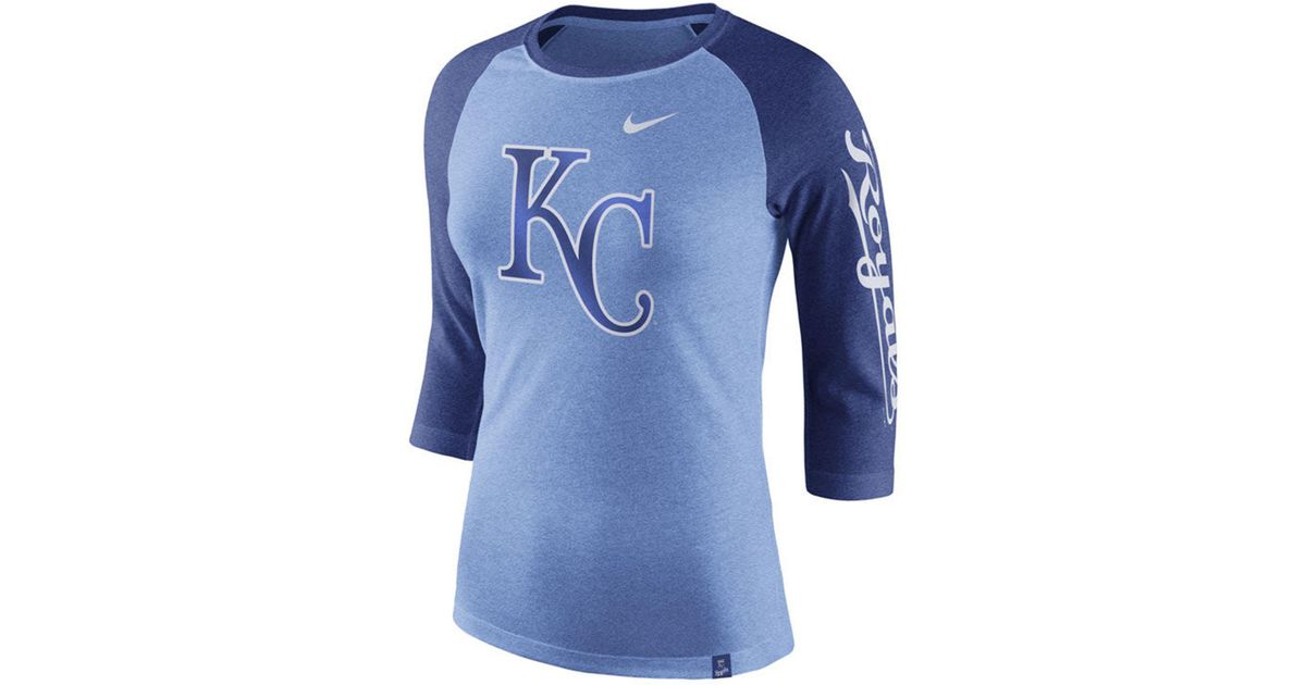 577da451aad Lyst - Nike Kansas City Royals Tri-blend Raglan T-shirt in Blue for Men