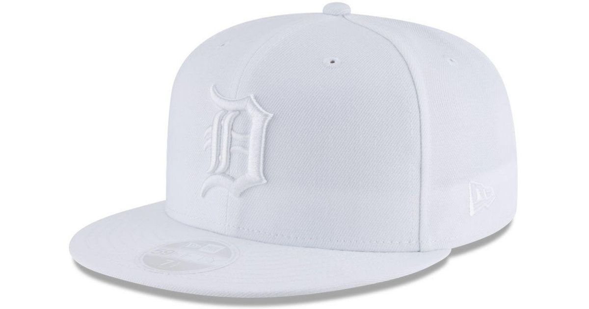 free shipping 16a4c e5da9 Lyst - KTZ Detroit Tigers White Out 59fifty Fitted Cap in White for Men