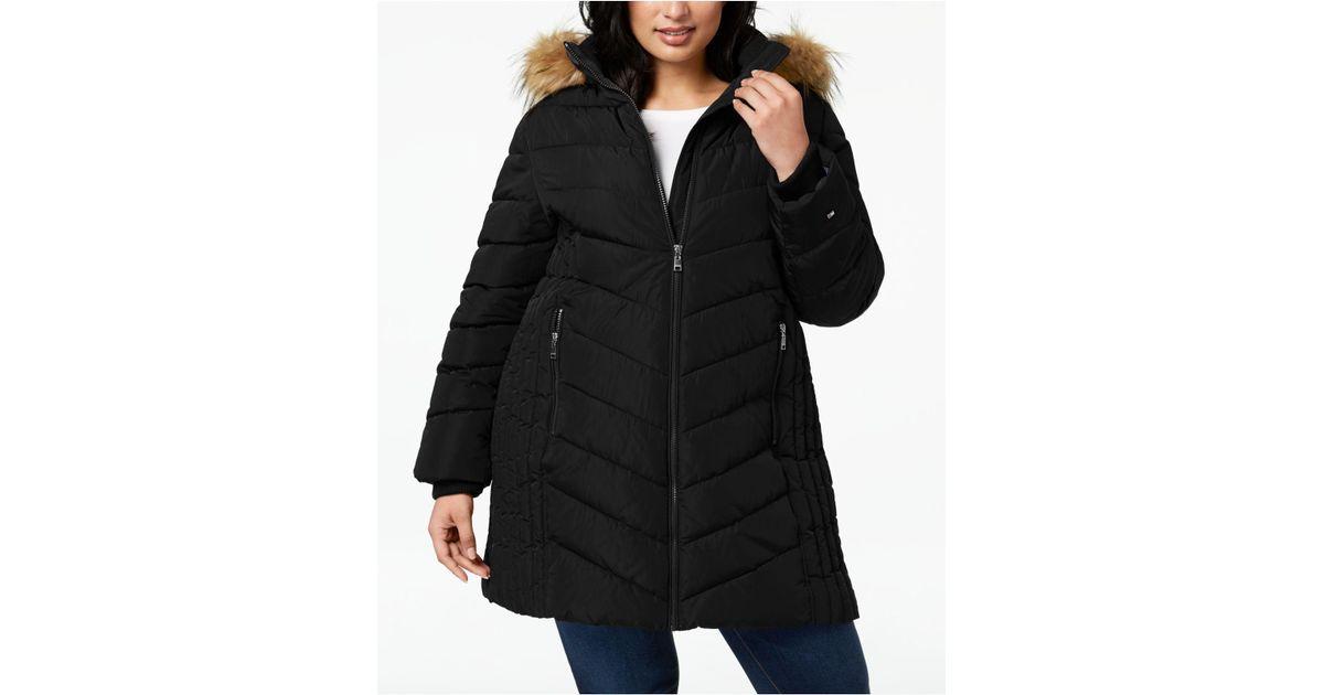 5ef3649f561 Lyst - Tommy Hilfiger Plus Size Faux-fur-trim Hooded Puffer Coat in Black
