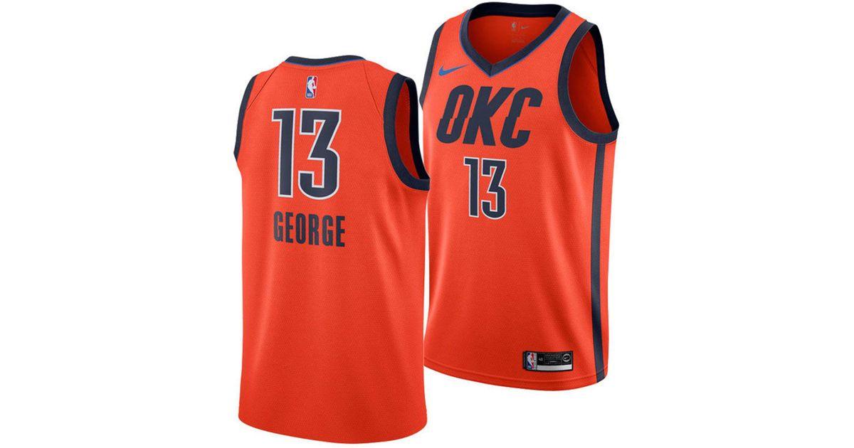 sale retailer 35a45 945c2 Nike Paul George Oklahoma City Thunder Earned Edition Swingman Jersey in  Orange for Men - Lyst