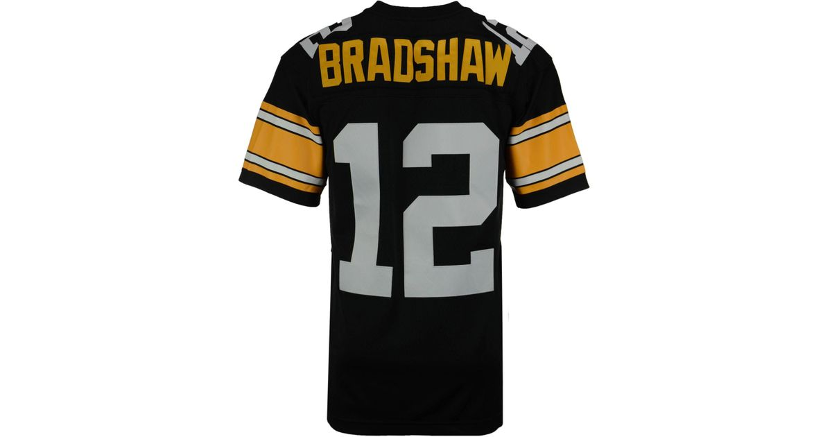 6d30e231f Mitchell   Ness Men s Terry Bradshaw Pittsburgh Steelers Replica Throwback  Jersey in Black for Men - Lyst