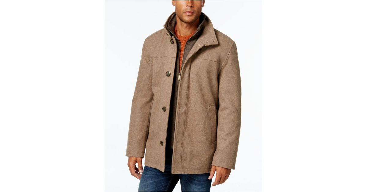 London fog Men's Wool-blend Layered Car Coat in Brown for Men ...