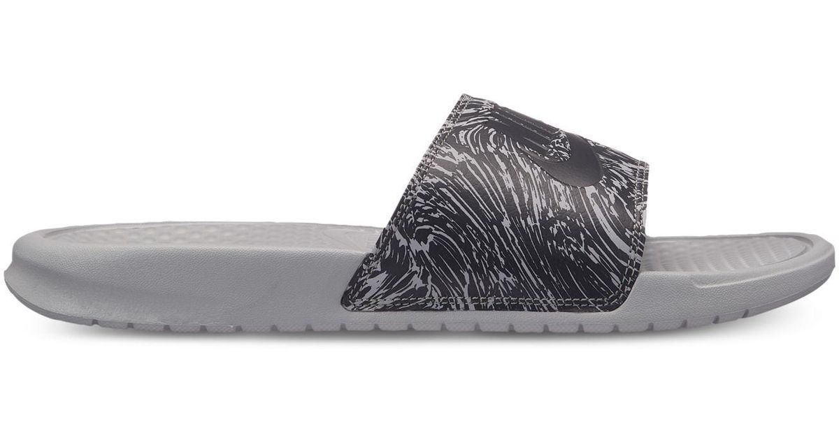 a1b016ccaf5e4e Nike - Gray Benassi Jdi Print Slide Sandals From Finish Line - Lyst