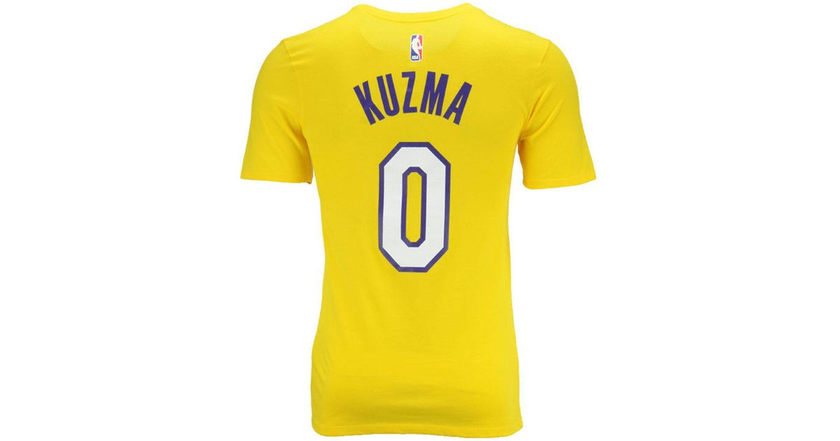 166af5e97 Nike Kyle Kuzma Los Angeles Lakers Icon Player T-shirt in Yellow for Men -  Lyst