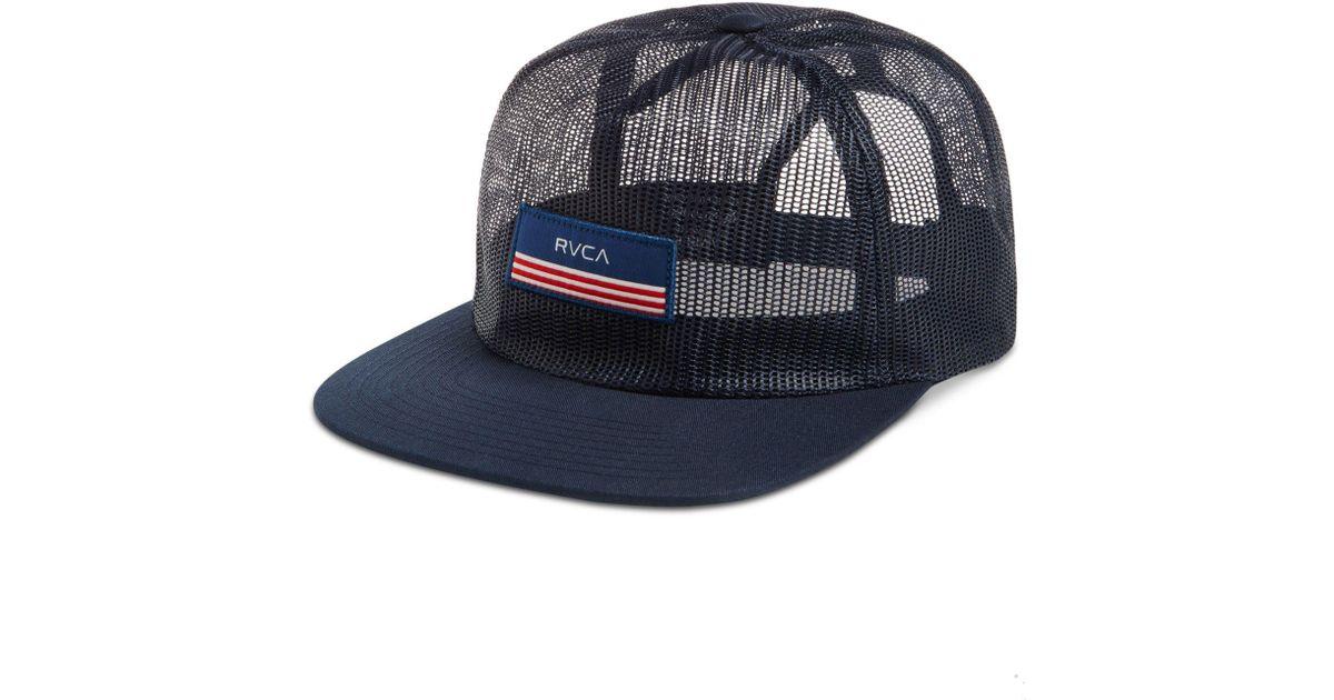 00a5cb39a73 Lyst - Rvca Men s Merica Mesh Trucker Hat in Blue for Men