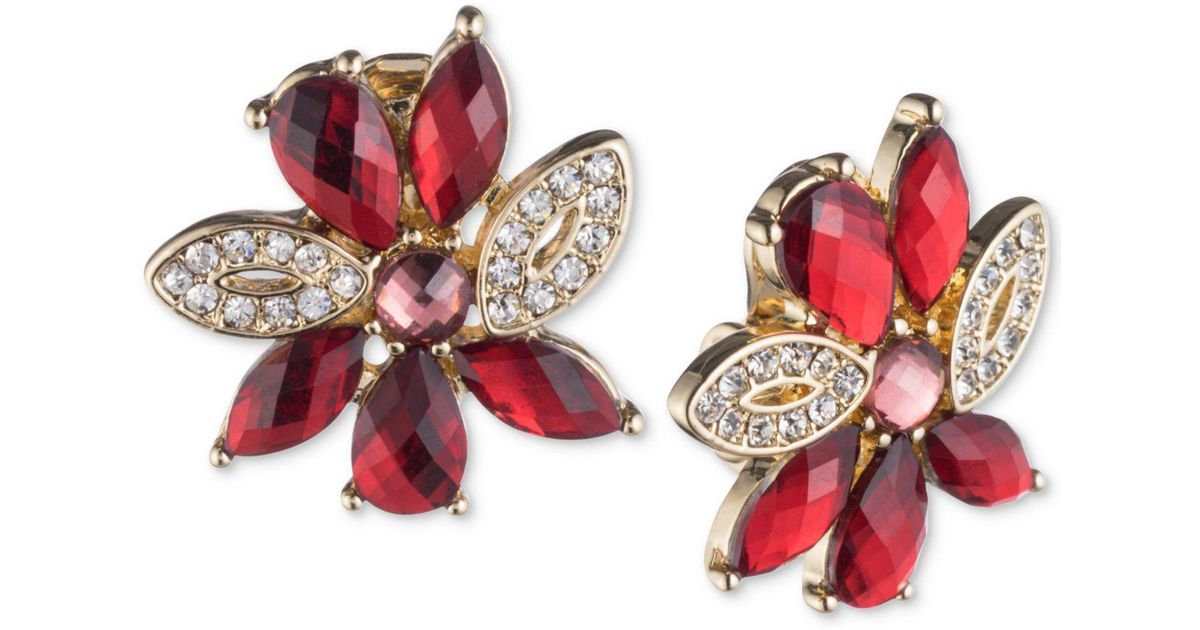 Lyst Anne Klein Gold Tone Pavé Red Stone Flower Clip On Stud Earrings In Metallic