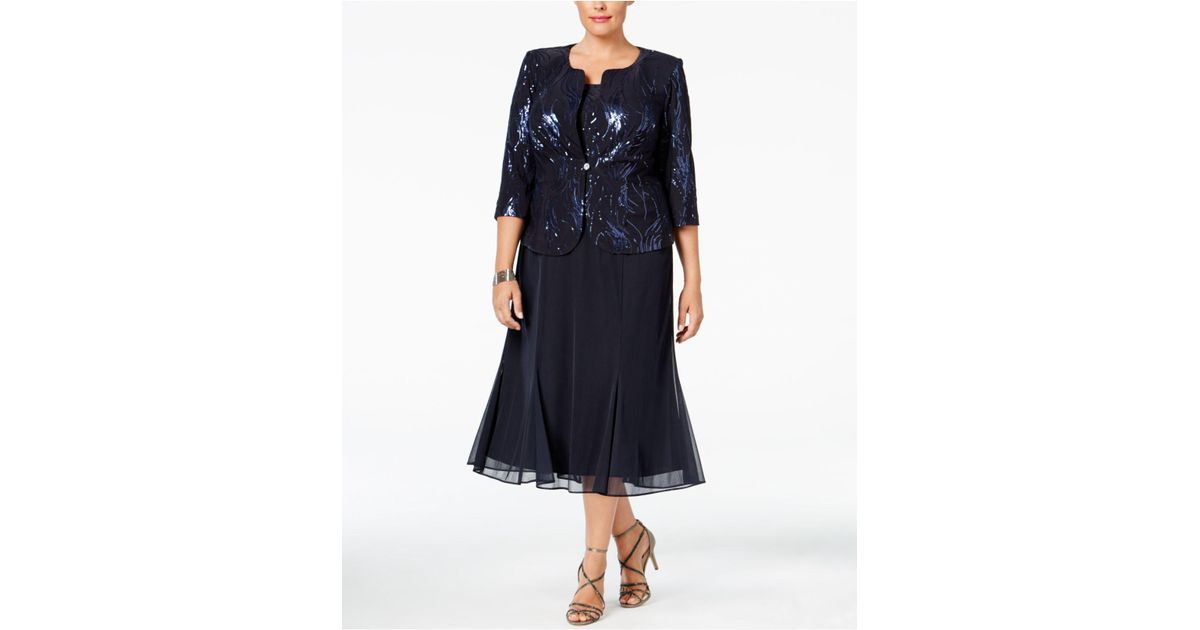 Lyst Alex Evenings Plus Size Sequined Chiffon Dress And Jacket In Blue