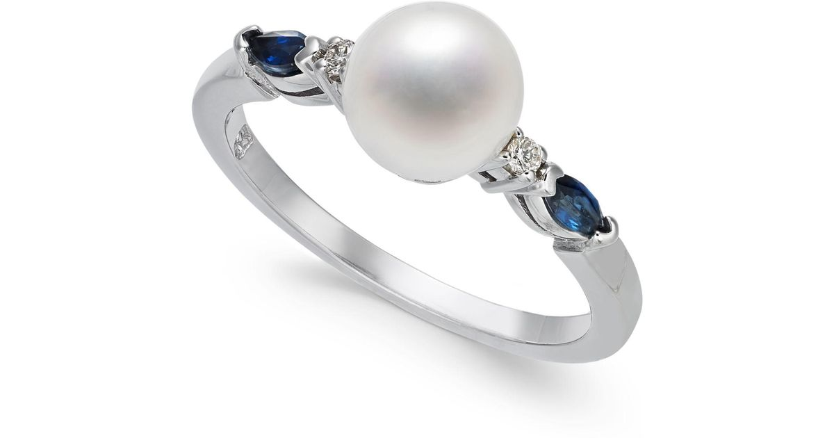 74b5bf55ab50 Macy's Cultured Freshwater Pearl (7mm), Sapphire (1/4 Ct. T.w.) & Diamond  Accent Ring In 14k White Gold in White - Lyst
