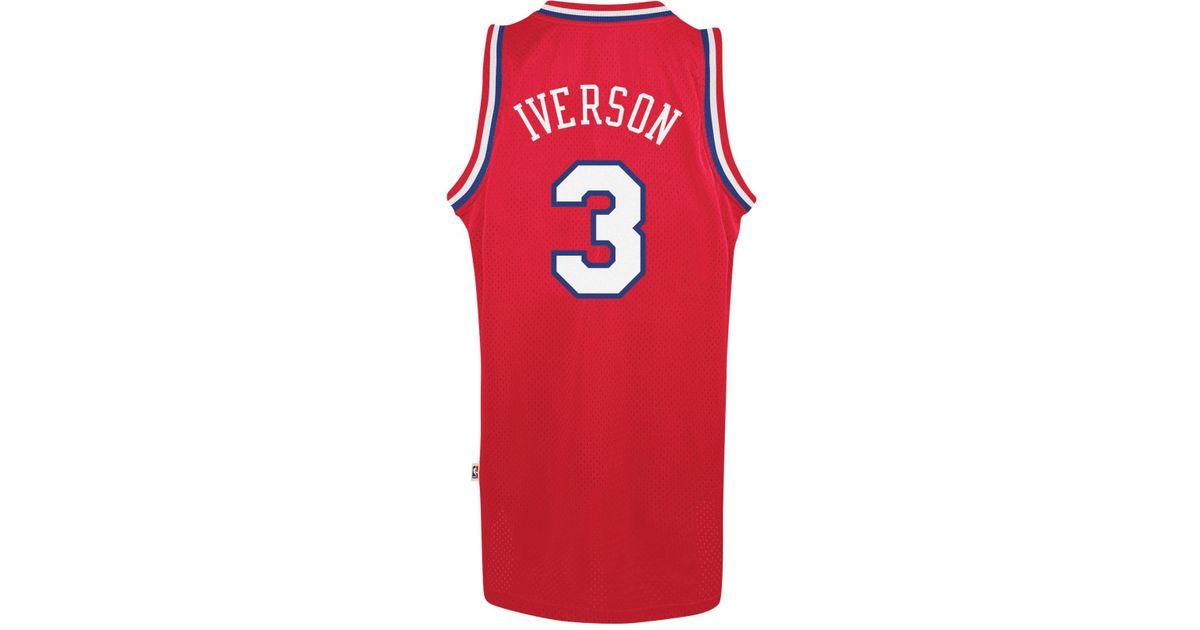 5a2f4d8b Lyst - adidas Men's Allen Iverson Philadelphia 76ers Swingman Jersey in Red  for Men