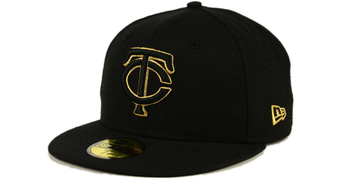 huge discount 942a1 dd372 KTZ Minnesota Twins Black On Metallic Gold 59fifty Cap in Black for Men -  Lyst