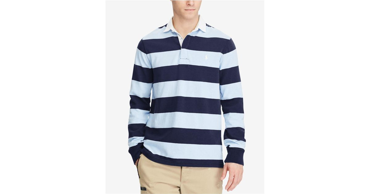 d75d32dde65 ... sale lyst polo ralph lauren the iconic rugby shirt in blue for men  1bd8b 7cdf6