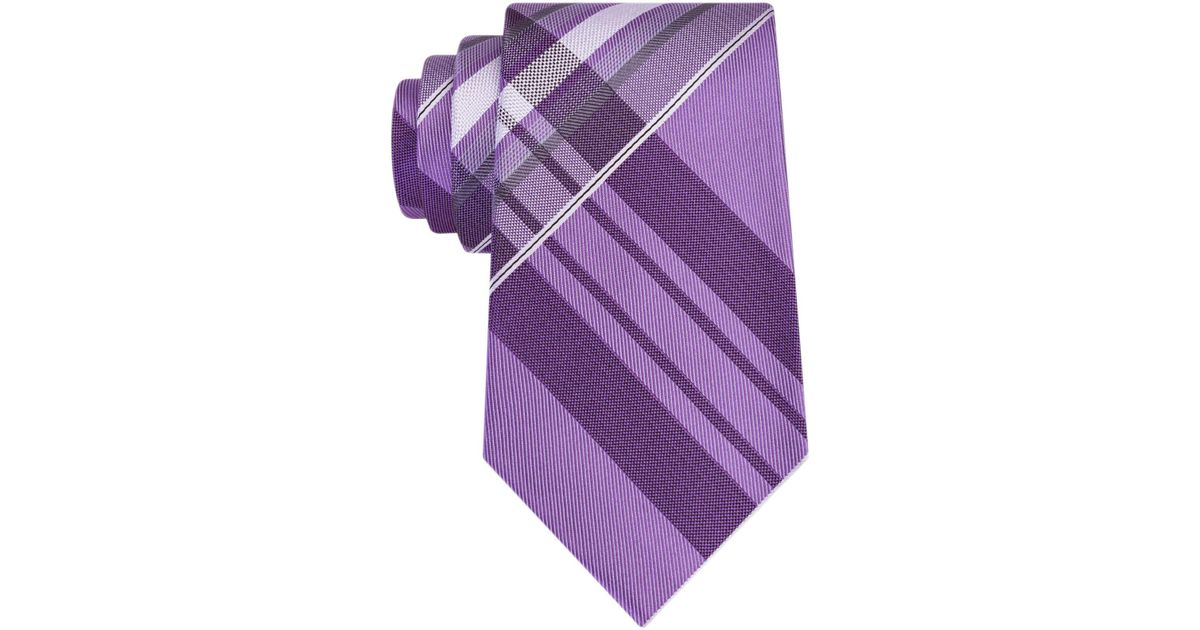 1fc64890db2d Lyst - Kenneth Cole Reaction Men's Aquamarine Plaid Tie in Purple for Men