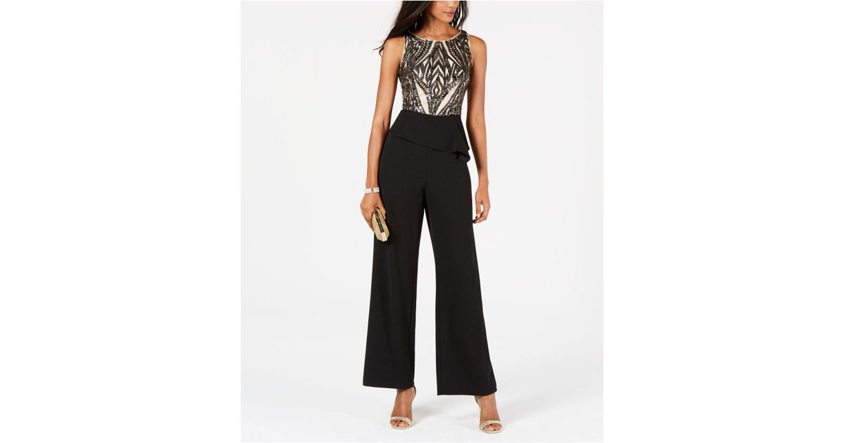 d57d88afd9b9 Lyst - Adrianna Papell Embellished Peplum Jumpsuit in Black