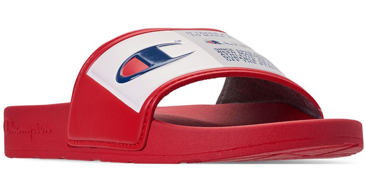 e523802902 champion ipo slides red Lyst - Champion Ipo Jock Slide Sandals From Finish  Line in Red for Men