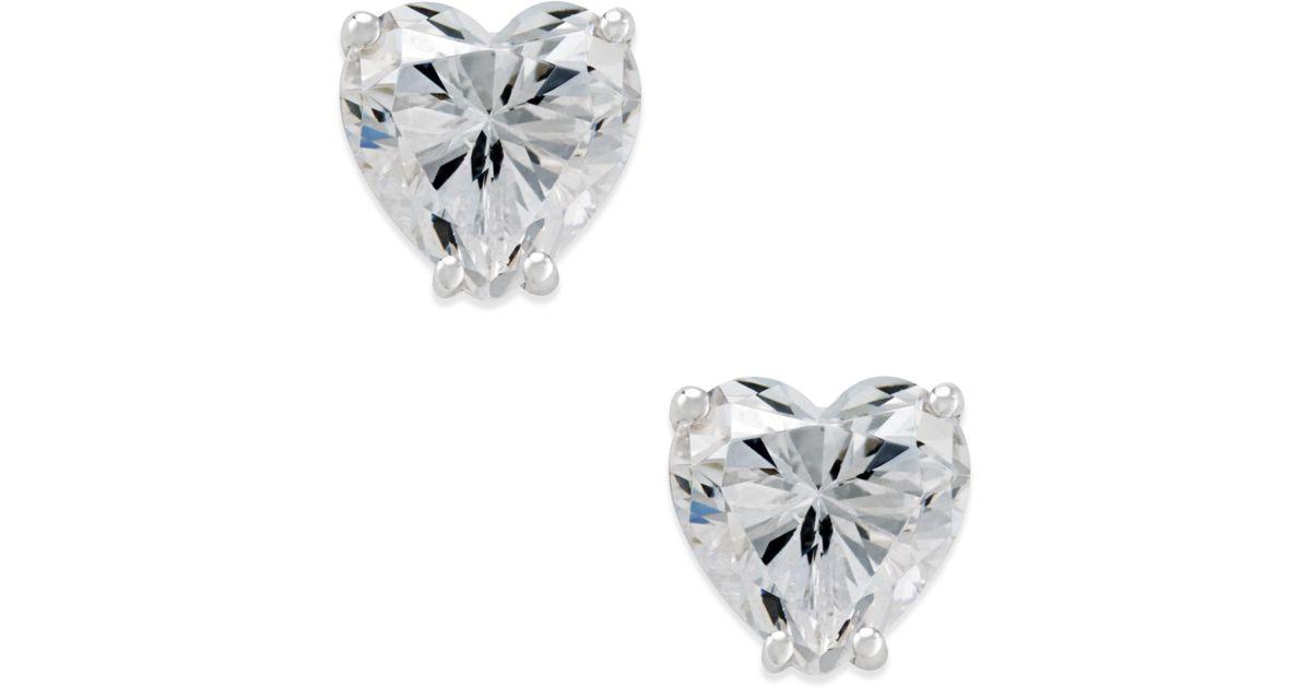 Lyst Arabella Swarovski Zirconia Heart Stud Earrings In 14k White Gold