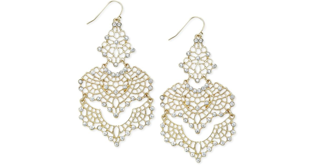 11dbcb7d8 Lyst - INC International Concepts I.n.c. Crystal Lace Chandelier Earrings  in Metallic - Save 31%