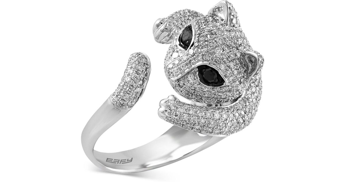 Lyst Effy Collection Diamond Cat Ring 1 5 8 Ct T W In 14k White Gold