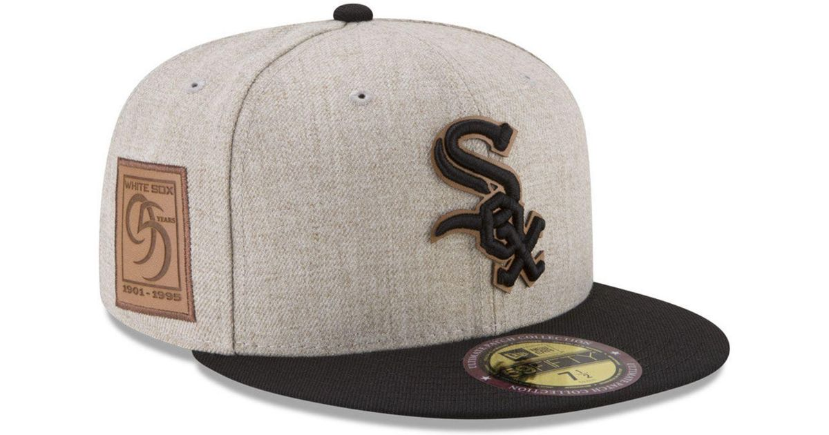 cheaper 3bbc7 8c745 Lyst - Ktz Chicago White Sox Leather Ultimate Patch Collection 59fifty  Fitted Cap for Men