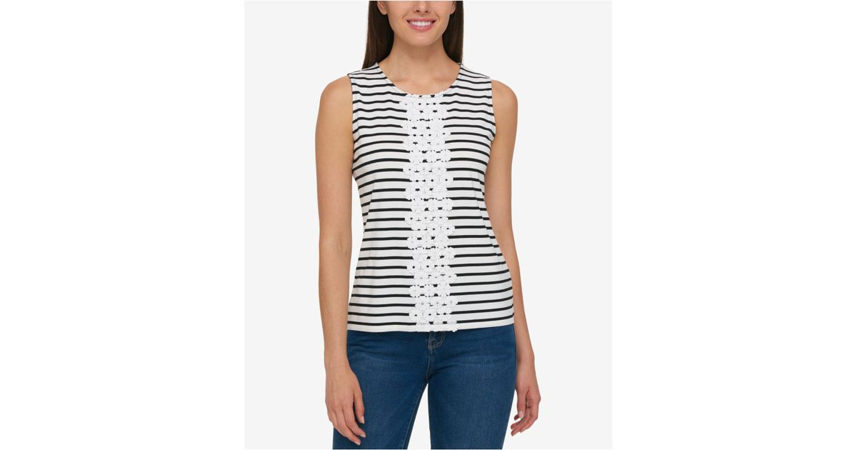 037bc7fe Lyst - Tommy Hilfiger Striped Floral-appliqué Tank Top in Black
