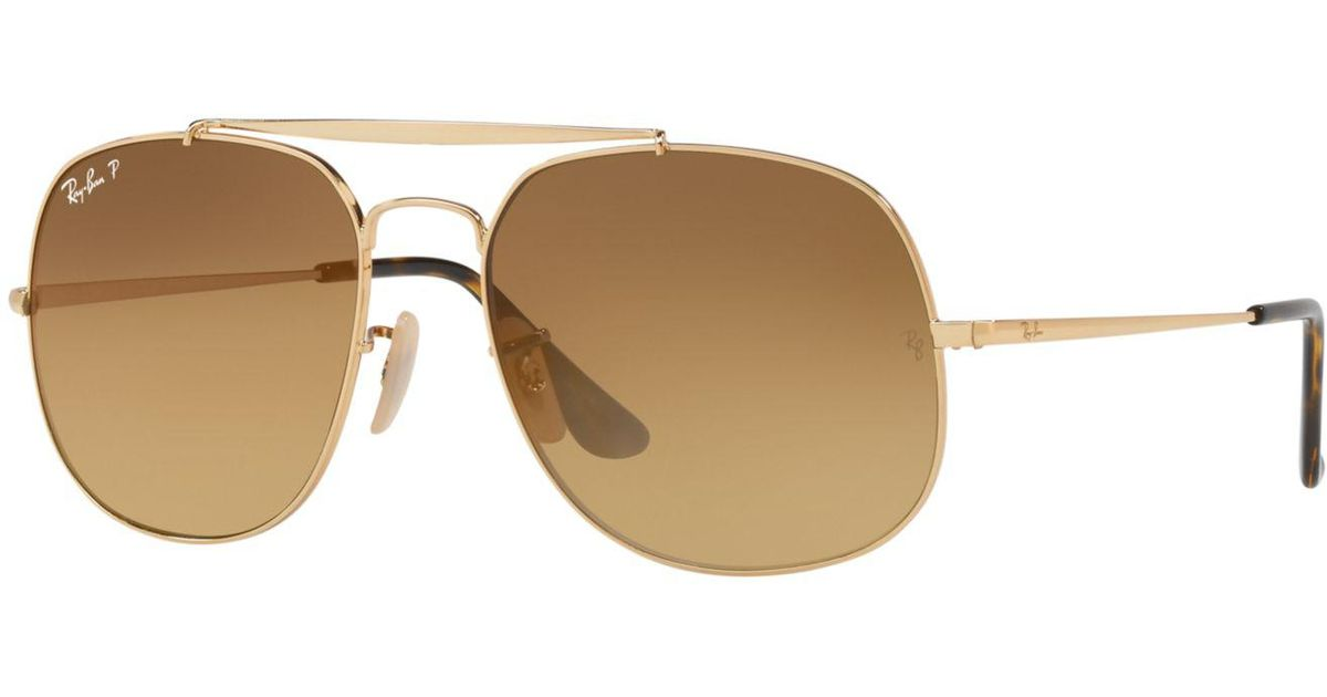 6dea3a628ef ... buy lyst ray ban polarized the general sunglasses rb3561 57 only at  sunglass hut in brown