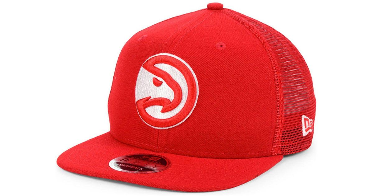 the latest 1d514 ea79b KTZ Atlanta Hawks Dub Fresh Trucker 9fifty Snapback Cap in Red for Men -  Lyst