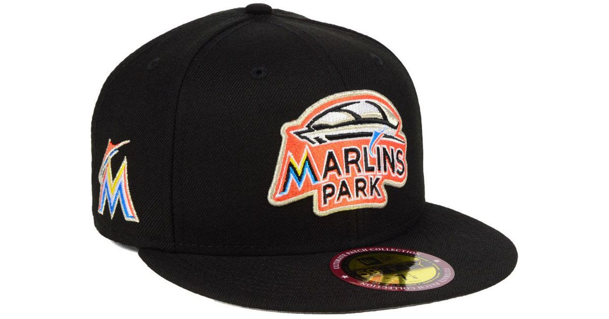 60b43a05bd464 Lyst - KTZ Miami Marlins Ultimate Patch Collection Front 59fifty Fitted Cap  in Black for Men