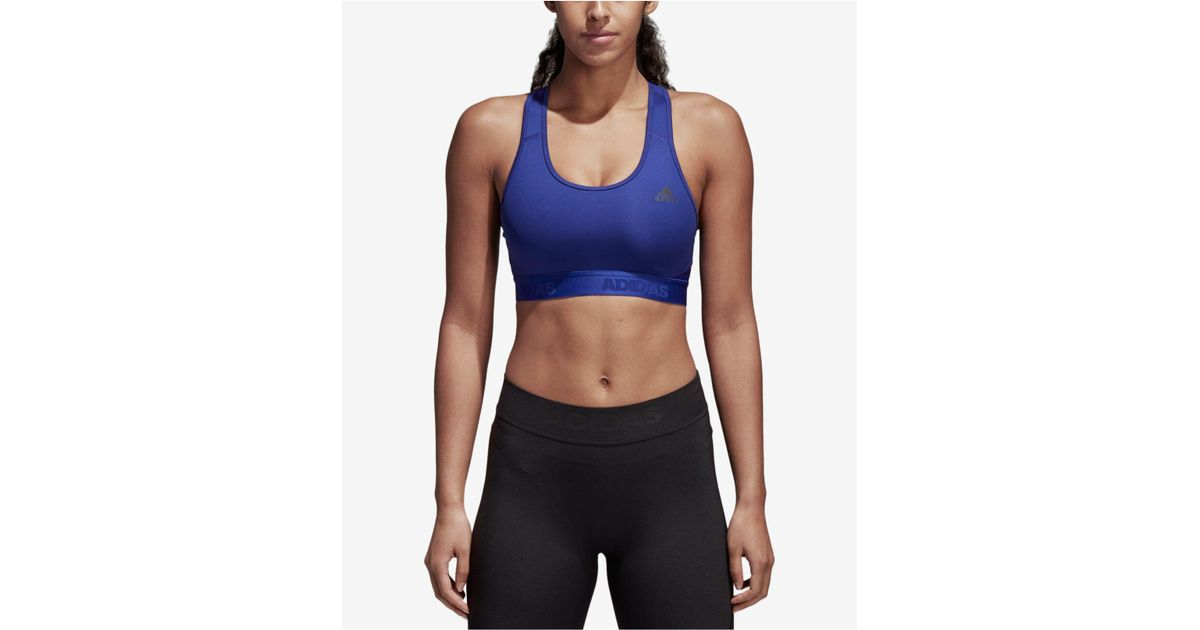 80c1338c39 Lyst - Adidas Alphaskin Racerback Medium-impact Sports Bra in Blue