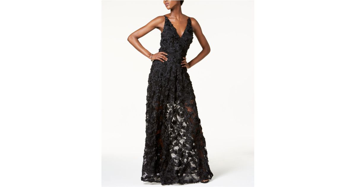 Lyst - Xscape Floral Lace Gown in Black