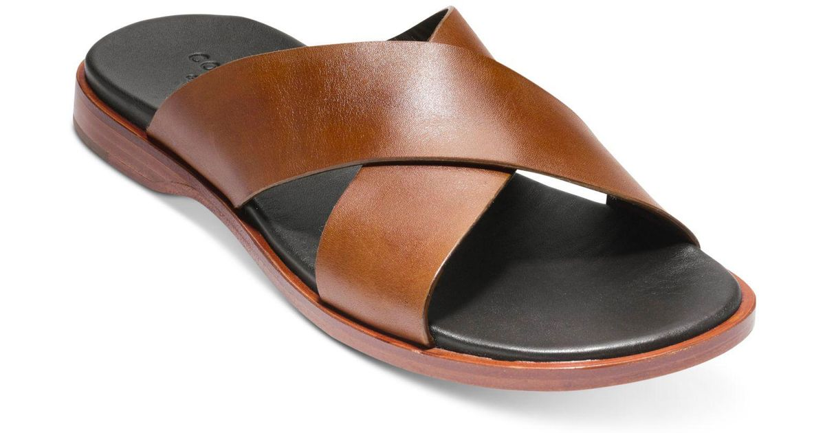 0aaa819f445c62 Lyst - Cole Haan Goldwyn Criss Cross Sandals in Brown for Men - Save 11%