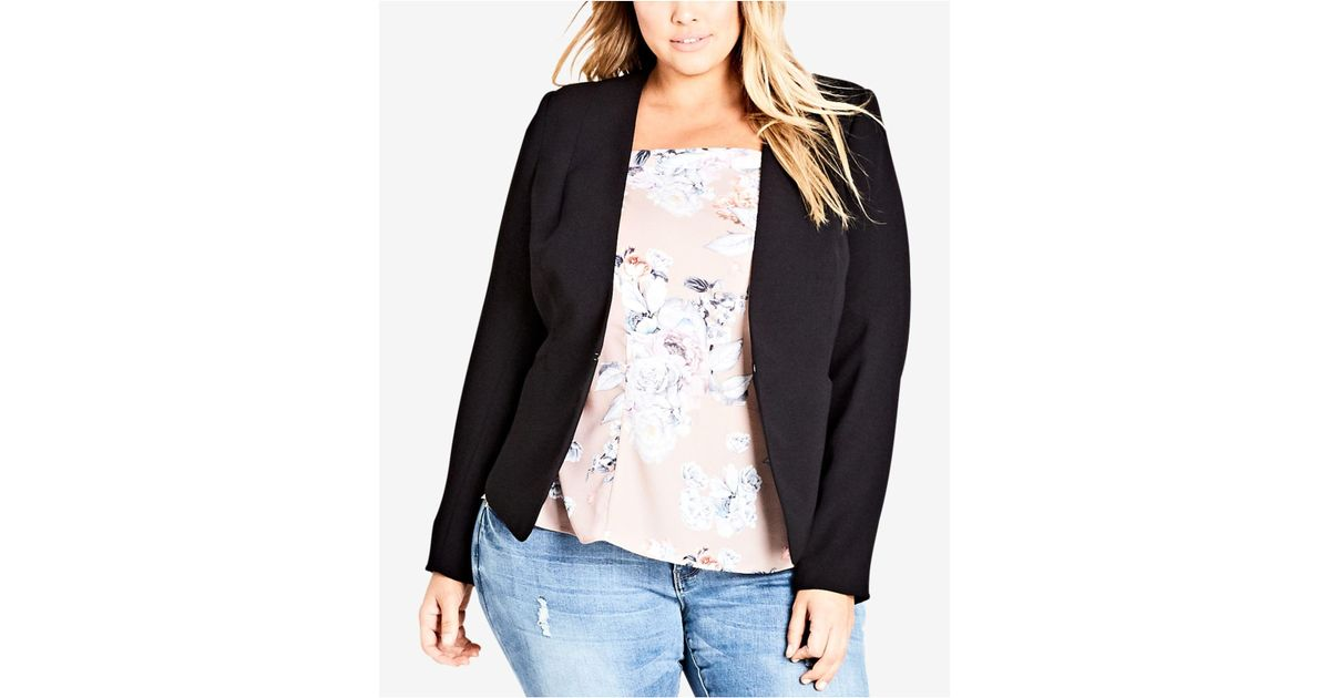 a6668aa876b Lyst - City Chic Trendy Plus Size Laced-back Blazer in Black