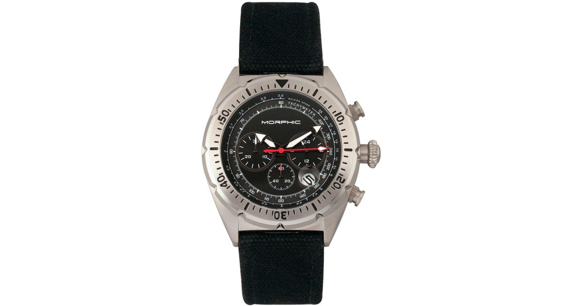 54d05695d Lyst - Morphic M53 Series, Silver Case, Chronograph Fiber Weaved Black  Leather Band Watch W/date, 45mm in Black for Men