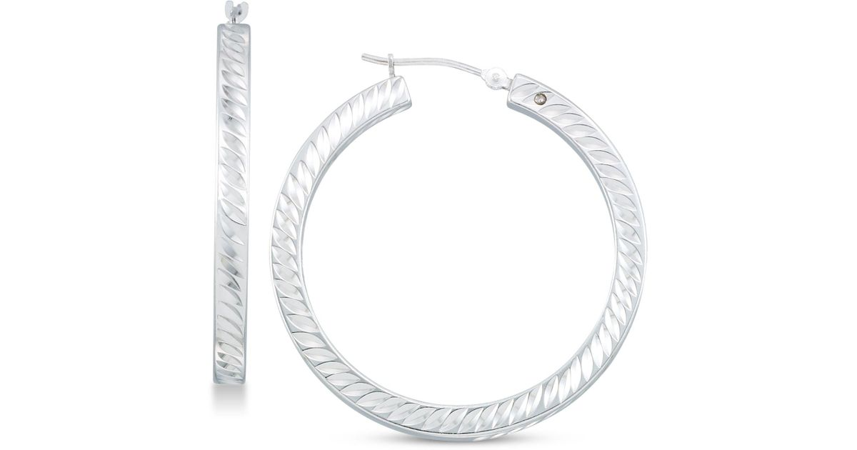 1b4cee05c5f2a Signature Gold - Metallic Diamond Accent Twist-pattern Round Hoop Earrings  In 14k White Gold Over Resin Or 14k Gold Over Resin, Created For Macy's -  ...