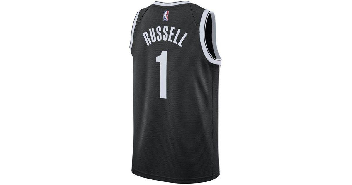 6921dc753 Lyst - Nike D angelo Russell Brooklyn Nets Icon Swingman Jersey in Black  for Men