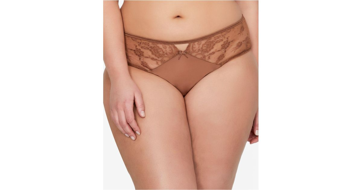 a6b73e58a5c Ashley Graham Plus Size High-rise Lace Panty 402150 in Brown - Lyst