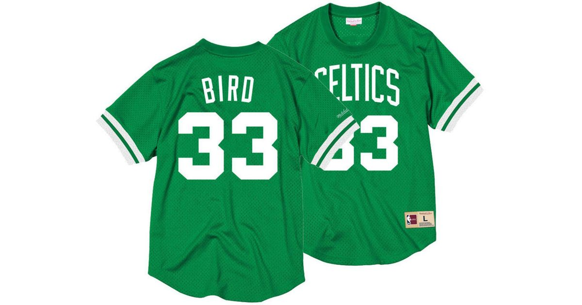 15ef80f9c Mitchell   Ness Larry Bird Boston Celtics Name And Number Mesh Crewneck  Jersey in Green for Men - Lyst