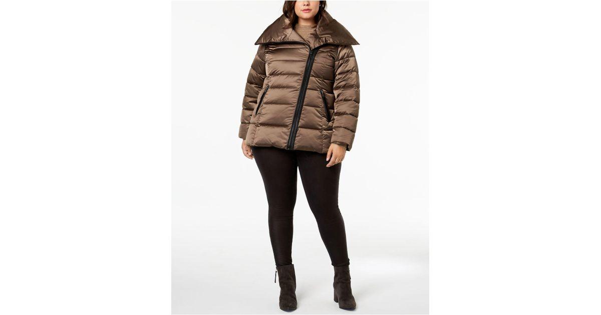 cb6d44cf22aa6 Lyst - T Tahari Plus Size Asymmetrical Puffer Coat