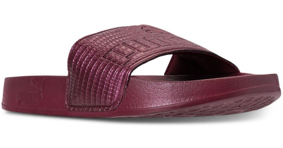 Lyst - PUMA Women s Leadcat Leather Slide Sandals From Finish Line in Purple 8bb08522f