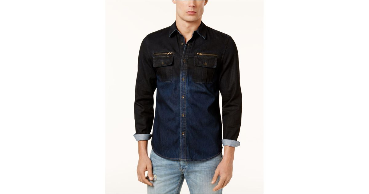 deee0f3ffb0 Lyst - Guess Men s Two-tone Denim Shirt in Blue for Men