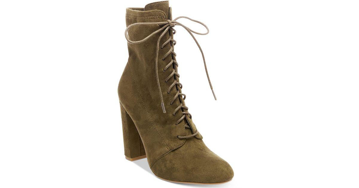 dcb80bd3e2b9 Lyst - Steve Madden Women s Elley Lace-up Block-heel Booties in Green