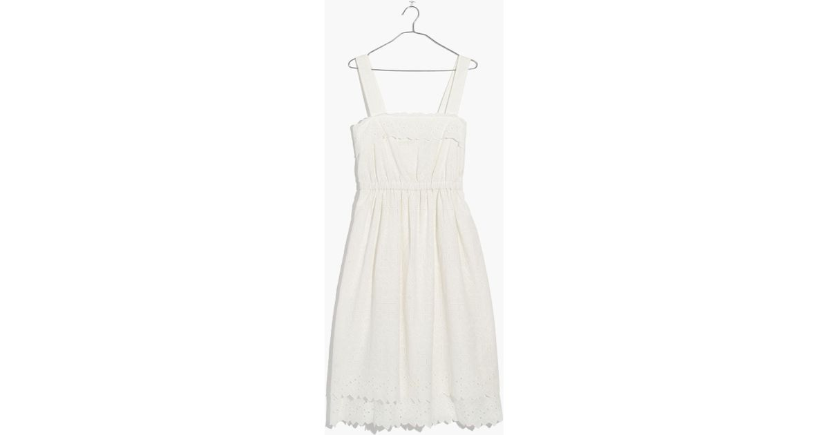 eb4e3e25bf5 Madewell Eyelet Tiered Midi Dress in White - Lyst